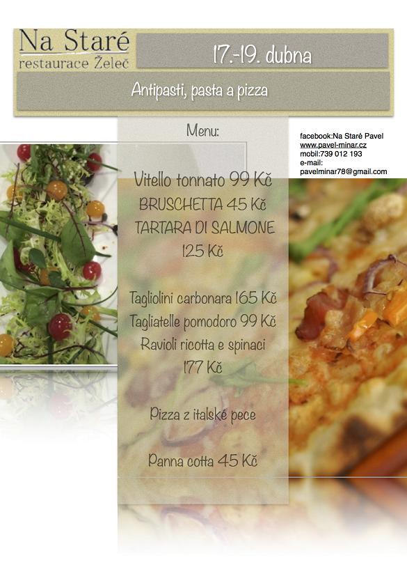 Antipasti, pasta a pizza