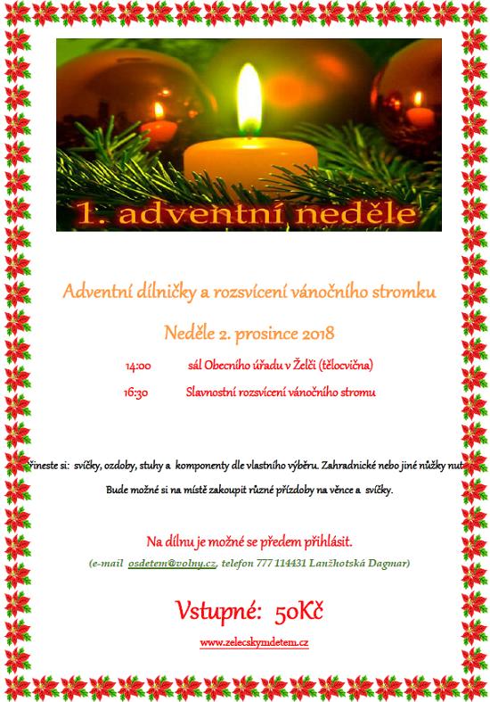 Adventní dílna a rosvěcení vánočnío stromu