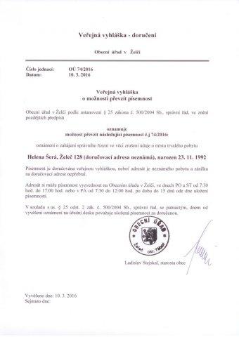 Veřejná vyhláška o možnosti převzít písemnost - Helena Šerá